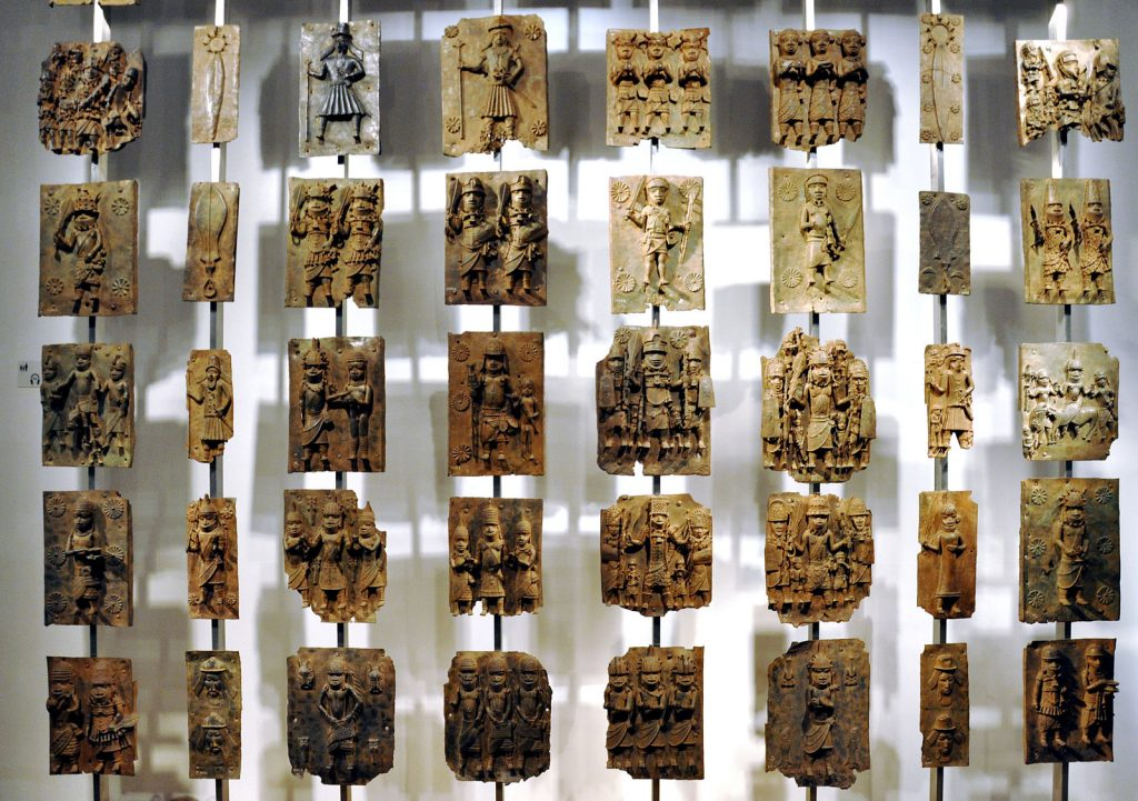 Cast brass plaques from Benin City at British Museum
